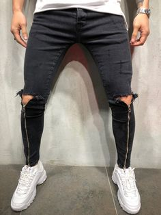 Mens Fashion Night Out Jeans Skinny, Ripped Jeans, Skinny Fit, Ankle Jeans, Super Skinny, Streetwear Jeans, Black Skinnies, Black Jeans, Fashion Clothes