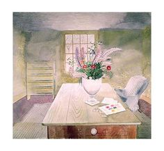 Flowers on Cottage Table (Giclee Limited Edition of 950) by Eric Ravilious