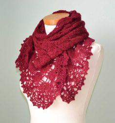 Burgundy triangular mohair shawl