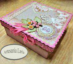 Artesanía Laria: caja decorada para niña recién nacida - scrapbooki...