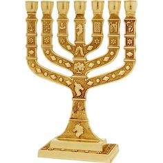 Nicely detailed 12 Tribes gold colored Knesset Menorah designed by the Karshi studios of Jerusalem  Size: 6.5 inches / 16 cm.  Jerusalem is embossed on base of Menorah.  Shipped to you directly from the Holy Land.
