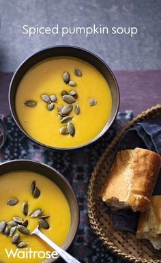 Our vibrant spiced pumpkin soup is super quick and easy to make. To serve, sprinkle with toasted pumpkin seeds for an extra crunch. To see the full recipe, check out the Waitrose website.