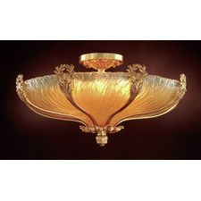 8 Light Flush Mount Strass Crystal in French Gold