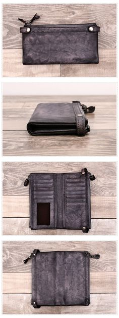 Double zipper Genuine Leather Long Wallet Women Purse Dimensions: Length: 19 cm; Height: 10cm Color: Grey/Brown/Brown green