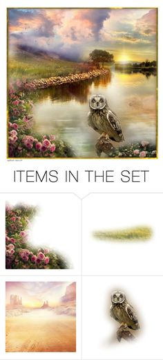 """""""Misty Sunset by the Lake"""" by infinite-stars29 ❤ liked on Polyvore featuring art"""