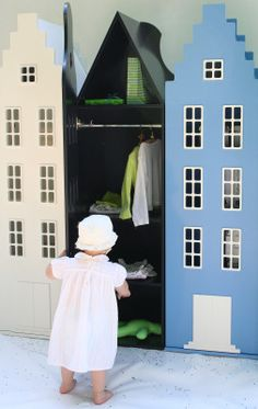 So cute for the kids bedroom. A closet made to look like a house. Produced in Holland.