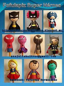 Fofuchas Hermosillo - Plaza Zaragoza: Fofulapices catalogo Pencil Crafts, Cake Decorating With Fondant, Pencil Toppers, Ideas Para Fiestas, Superhero Party, Happy Kids, Gifts For Friends, Projects To Try, Stationery