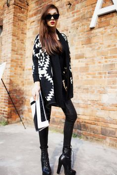 like the idea of leather/pleather/wet look legging with Aztec Wrap Sweater, Knit Cardigan, Loose Sweater, Aztec Sweater, Oversized Cardigan, Open Cardigan, Black Cardigan, Look Legging, Fashion Outfits