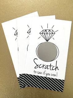 set of 24 cards - bridal shower game - scratch off cards - Black/White - hipster modern wedding by janetmorrin on Etsy