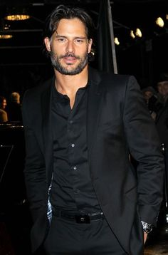 Joe Manganiello--Seriously one HOT mother f*cker!! Sweet Jesus he looks amazing in this all black suit. Want to rip it off of him... Wow.