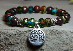 Bracelet with Earthy Gemstones and Tree of Life Charm