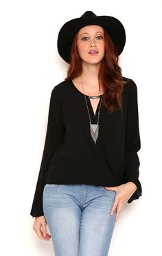 Deb Shops Long Bell Sleeve Surplice Front Top with Keyhole Detail $11.25
