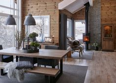 scandinavian cabin in the woods wood paneled modern chalet log home woods modern and cabin scandinavian wood cabins Wood Interiors, Cabin Interiors, Modern Interiors, Cabins In The Woods, House In The Woods, Chalet Interior, Interior Design, Modern Cabin Interior, Brown Interior