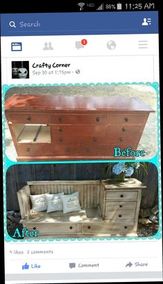 Bench made from old dresser - Love this for a bedroom. Wish I had the space in…