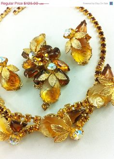 25% OFF (Holiday Sale) D Juliana Caramel Rhinestone Parure, Designer Vintage Necklace, Brooch, Earrings in Ambers, Cut Rose Cabochons.. $93.75, via Etsy.
