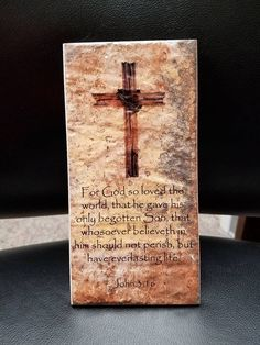 Thin Brick Plaque For God so loved the world everlasting life John 3:16 Housewarming Gift Art Cross Home Decor Bible verse quote by Featherpick on Etsy