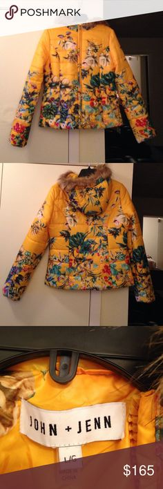 Stunning floral John + Jenn jacket Sz large Lightly padded puffer jacket by John and jenn from Neiman Marcus. Never worn exactly as new without tags. Yellow with a stunning floral pattern and removable faux fur trim to hood. Size large. John + Jenn Jackets & Coats Puffers