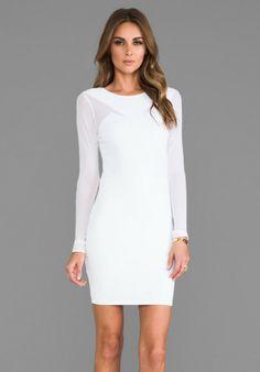 Donna Mizani White Long Sleeve Splice Dress in White