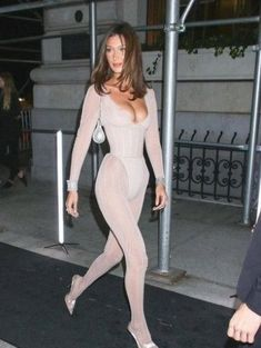 Bella Hadid is seen arriving at The Worldwide Editors of Harper's Bazaar celebration, ICONS. White Catsuit, Bella Hadid Photos, Carine Roitfeld, Harpers Bazaar, Celebration, Icons, Dresses, Fashion, Gowns