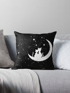 Romantic Cat Couple Sitting On The Moon In The Stars Throw Pillow.  A romantic evening for cat lovers. Star gazing across the galaxy while sitting on the moon.  #cat #cats #catlover #catlove #meow #lovecats #moon #stars #galaxy #moonlight #stargazing #romantic #love #romance #giftideas #fashion #homedecor #artsandcrafts #stickers #redbubblestickers #redbubble #art #redbubbleshop #ad @giftsbyminuet Cat Couple, Red Bubble Stickers, Romantic Evening, Canvas Prints, Art Prints, Stargazing, Cat Lovers, Arts And Crafts, Moonlight