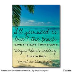 "Sold, thank you to the couple in Key West, Florida Puerto Rico Destination Wedding Save the Date Postcard Tropical white sand and blue waters with palm tree ""All you need is love and the beach"" tropical destination wedding save the date postcards"