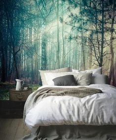 Bedroom inspo white with tree forest wallpaper mural