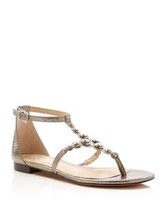 VINCE CAMUTO Valia Metallic Embossed Studded Ankle Strap Flat Sandals | Bloomingdale's