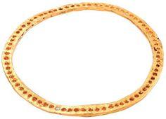 yellow gold flat holes diamond bangle