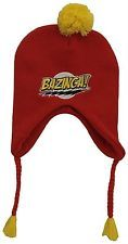 NWT Ripple Junction Big Bang Theory Bazinga Adult Pom Laplander Beanie Hat RED