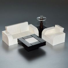 LEGO-Furniture-Black-Seating-Tables-w-Lamp-Coffee-Side-Full-Set-new