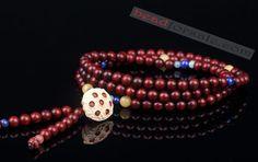 108 Lobular Red Sandalwood Mala Beads With Lotus Seedpod Pendant
