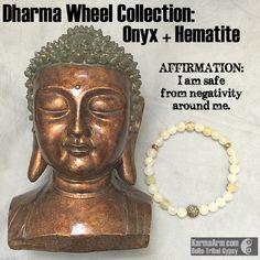 DHARMA WHEEL COLLECTION: Italian Onyx + Hematite #yoga # Mala # Bead #Bracelet #mens #bracelets #womens #healing #spiritual #meditation #crystal #crystals #love #style #luck #lucky #artisan #handmade #jewelry #artisan #OOAK  #fallfashion #love #blessed #black #fashion #mens #buddha