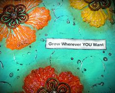 Mixed Media Mini Art Journal Series Page #15 Grow Wherever YOU Want HB using Designs by Ryn: Hibiscus stencil