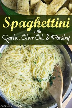 olive oils Craving simple, classic pasta flavors and have less then 30 minutes to make it happen? Memorize this recipe for spaghettini with garlic, olive oil, & parsley - you'll use it a lo Pasta Sauce Recipes, Chicken Pasta Recipes, Healthy Pasta Recipes, Healthy Pastas, Spaghetti Recipes, Vegetarian Recipes, Cooking Recipes, Recipe Pasta, Angel Hair Pasta Recipes