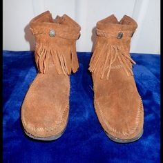 Minnetonka fringe ankle boot no trades Brown suede back zipper ankle boot Minnetonka Shoes Ankle Boots & Booties