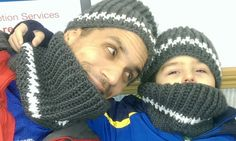 Father and Son Matching Hat and Cowl Sets (free crochet pattern)
