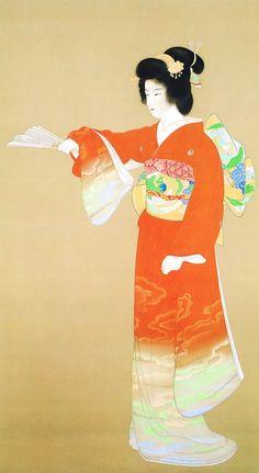 """《序の舞》上村松園 日本画家 絹本着色 - Program of the 'Noh' traditional arts of Japan """"Jono-mai; prelude dance"""" Color painting on silk, by Uemura Shoen, Japanese traditional painter jpg Vincent Van Gogh, Inspiration Artistique, Art Asiatique, Mary Cassatt, Art Japonais, Japanese Painting, Japanese Prints, Japan Art, Orient"""