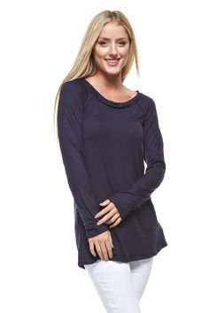 Rough Edge Long Sleeved Top - Navy