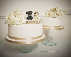 9w deserve_cak #Autumn #wedding with #pet #topper :) #sugarflowers #cascade #cakes #cream #white
