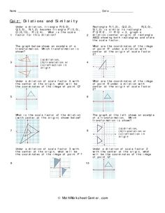 math worksheet : transformations dilations  coordinate plane and scale factors  : Dilation Math Worksheets