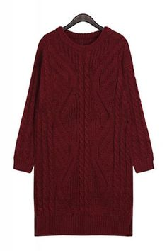 Cable Knit Wine Pullover Sweater