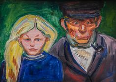 Old Fisherman with Daughter (1902) by  Edvard Munch (lawrenceleemagnuson)