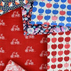 A beautiful combination of prints that would brighten up anyone's Monday! New prints from @robertkaufman are now here! #fabricworm #fabric #londoncalling #makoweruk #robertkaufman #sew #sewing #modernsewing #apples #bikes #floral #floralfabric #cottonlawn