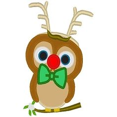 Reindeer Owl Applique - 3 Sizes! | Birds and Birdhouses | Machine Embroidery Designs | SWAKembroidery.com Band to Bow