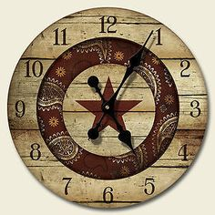 Round Wooden Wall Clock Rustic Rodeo Texas Kitchen Decor