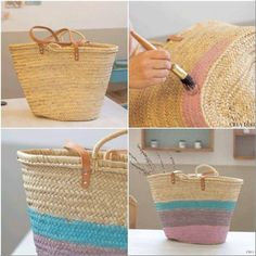 Capazos pintados a mano Diy Clutch, Diy Tote Bag, Ibiza, Painted Bags, Straw Handbags, Basket Bag, Summer Bags, Diy Embroidery, Cute Bags