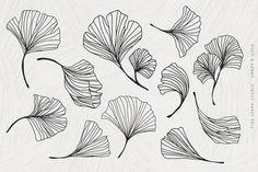 Ginkgo Leaf Watercolor Illustrations by Fire Spark Studio on Watercolor Leaves, Watercolor Art, Motifs Art Nouveau, Leaves Sketch, Leaves Doodle, Leaf Illustration, Leaf Drawing, Art Journal Techniques, Photocollage