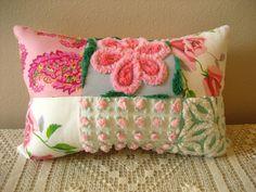 Oblong Vintage Chenille Patchwork Pillow