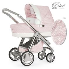 Kinderwagen für Mädchen in Pink mit zarten Blüten aus Spitze. Modell: Bebecar Ip Op Prive Collection 2015