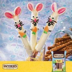 Easter wouldn't be complete without these tasty Bunny Pretzel Rods. Recipe: http://snyders.co/6pwwxX